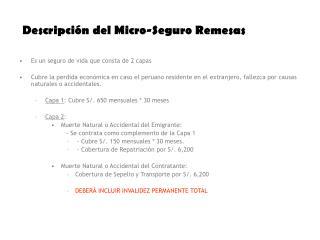 Descripción del Micro-Seguro Remesas