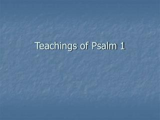Teachings of Psalm 1