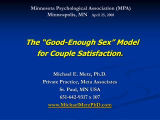Minnesota Psychological Association (MPA) Minneapolis, MN     April 25, 2008