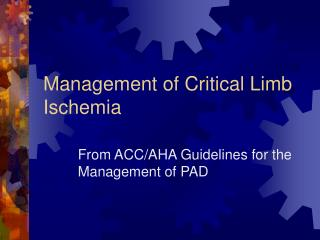 Management of Critical Limb Ischemia