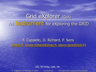 Grid eXplorer  (GdX) An Instrument for eXploring the GRID