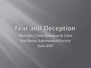 Fear and Deception