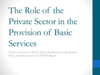 The Role of the Private Sector in the Provision of Basic Services