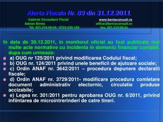 OUG nr. 125/2011 – Modificare Codul fiscal