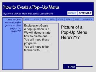How to Create a Pop–Up Menu