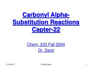 Carbonyl Alpha-Substitution Reactions Capter-22