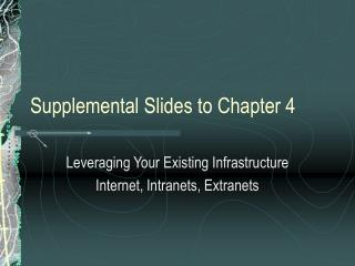 Supplemental Slides to Chapter 4