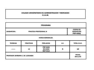 COLEGIO UNIVERSITARIO DE ADMINISTRACION Y MERCADEO C.U.A.M.