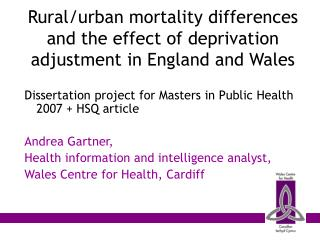 Rural/urban mortality differences and the effect of deprivation adjustment in England and Wales