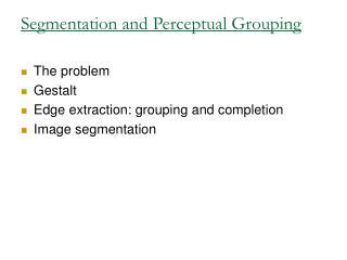 Segmentation and Perceptual Grouping