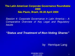 The Latin American Corporate Governance Roundtable 2000  São Paulo, Brazil, 26-28 April 2000