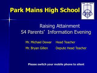 Raising Attainment S4 Parents'  Information Evening
