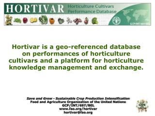 Save and Grow - Sustainable Crop Production Intensification