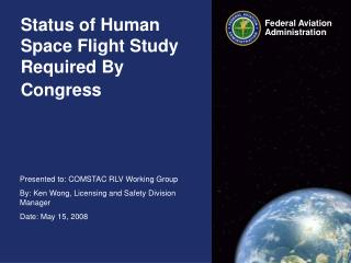 Status of Human Space Flight Study Required By Congress