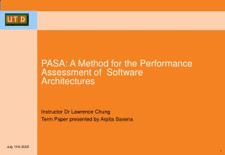 PASA: A Method for the Performance Assessment of  Software Architectures