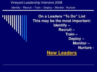 Vineyard Leadership Intensive 2008  Identify – Recruit – Train – Deploy – Monitor - Nurture