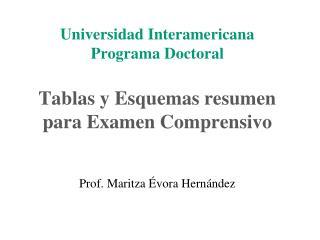 Universidad Interamericana Programa Doctoral   Tablas y Esquemas resumen para Examen Comprensivo        Prof. Maritza  v