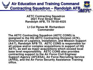Air Education and Training Command Contracting Squadron – Randolph AFB