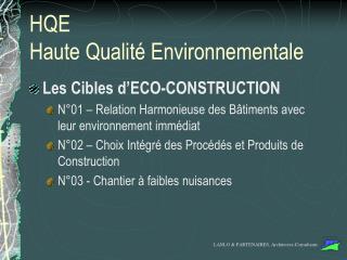 HQE  Haute Qualité Environnementale