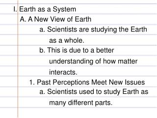 I. Earth as a System