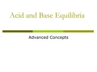 Acid and Base Equilibria