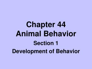 Chapter 44 Animal Behavior