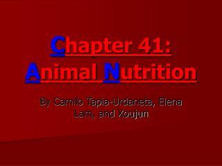 C hapter 41: A nimal  N utrition