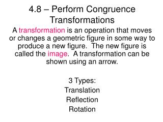 4.8 – Perform Congruence Transformations