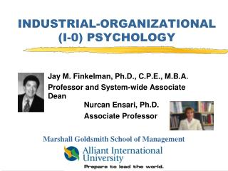 INDUSTRIAL-ORGANIZATIONAL (I-0) PSYCHOLOGY