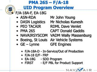 PMA 265 – F/A-18  UID Program Overview