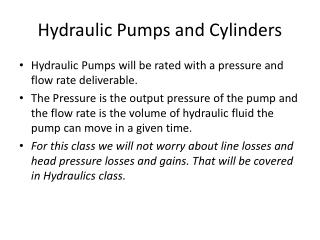 Hydraulic Pumps and Cylinders