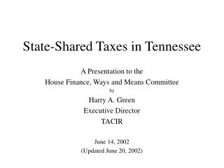 State-Shared Taxes in Tennessee