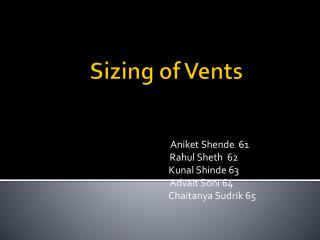 Sizing of Vents