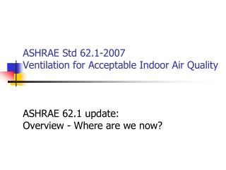 ASHRAE Std 62 update An Outline