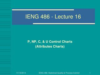 IENG 486 - Lecture 16