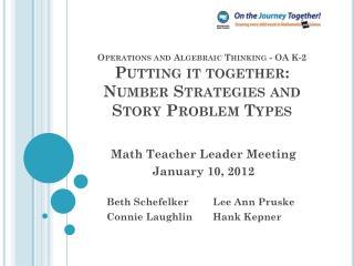 Math Teacher Leader Meeting January 10, 2012  Beth SchefelkerLee Ann Pruske