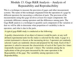 Module 13: Gage R&R Analysis – Analysis of Repeatability and Reproducibility