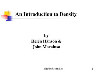by Helen Hanson & John Macaluso