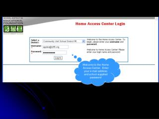 Welcome to the Home Access Center.  Enter your e-mail address and school-supplied password