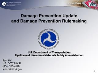 Damage Prevention Update and Damage Prevention Rulemaking