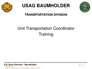 Unit Transportation Coordinator Training
