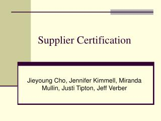 Supplier Certification