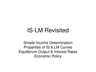 IS-LM Revisited