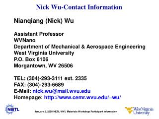 Nick Wu-Contact Information