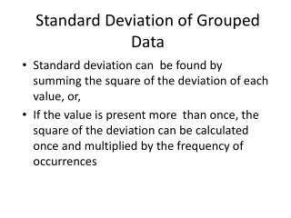 Standard Deviation of Grouped Data