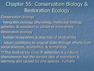 Chapter 55: Conservation Biology & Restoration Ecology
