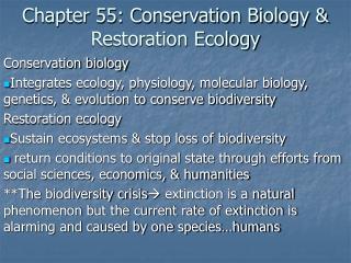 Chapter 55: Conservation Biology & Restoration Ecology