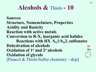 Alcohols &  Thiols  - 10