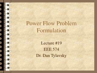 Power Flow Problem Formulation