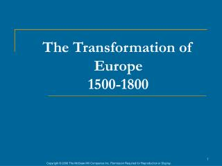 The Transformation of Europe 1500-1800
